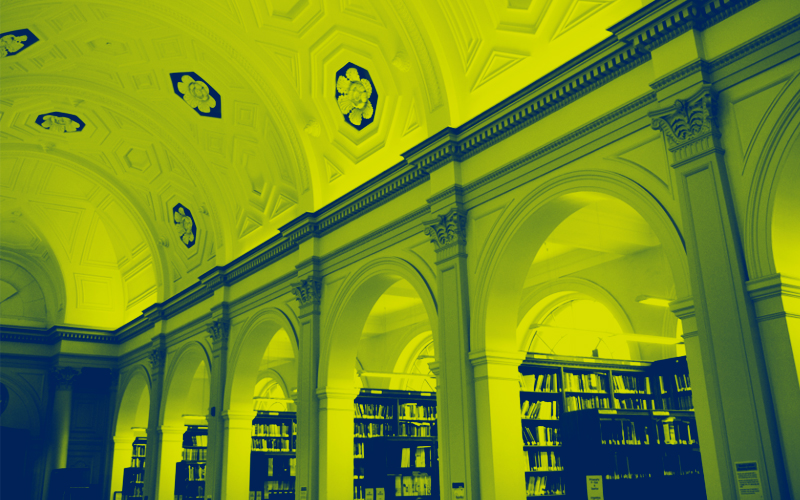 Green image of UCL Library reading room.