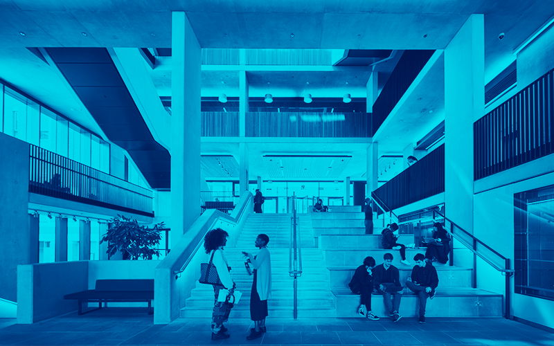 Blue image of UCL student centre.