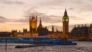 Evening view of the Houses of Parliament from South Bank