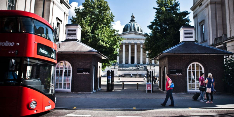 UCL Quad and a red London bus