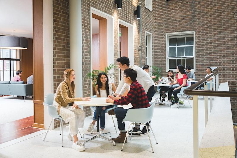 Students inside Bentham House