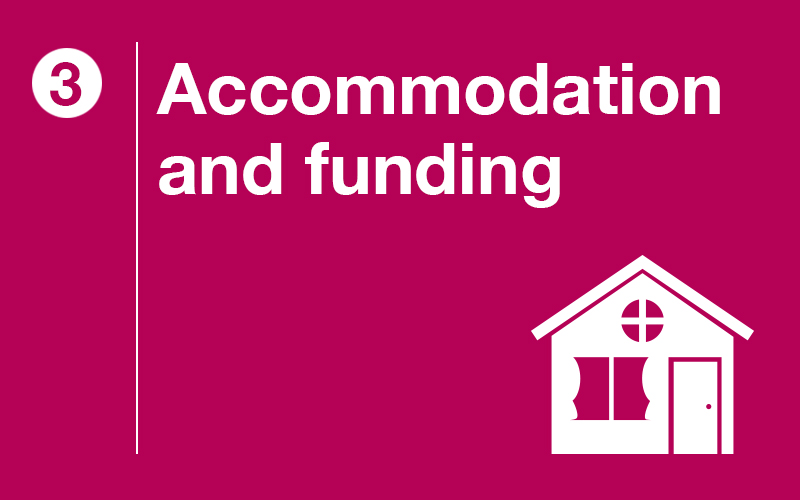 Step 3: Accommodation and funding