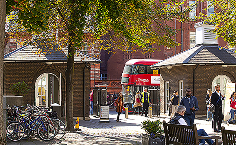 View from Portico to Gower Street, with red bus