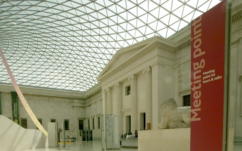 Welcome sign in the atrium of the British Museum.