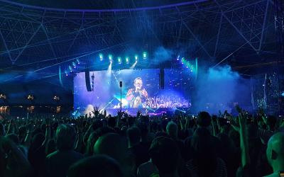 A concert at a large venue.