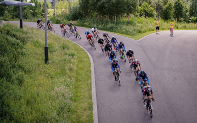 A cycle race at Lee Valley Velopark road race circuit.