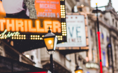 Shaftesbury Avenue theatre signs in the rain.