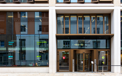 A wide angle of the entrance to the UCL Student Centre.