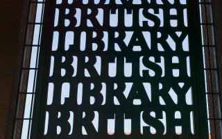 Entrance sign to British Library.