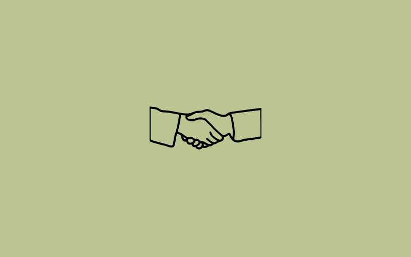 Icon of handshake on green background.