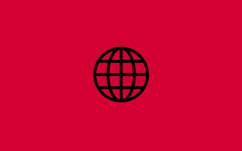 Globe icon on red background.