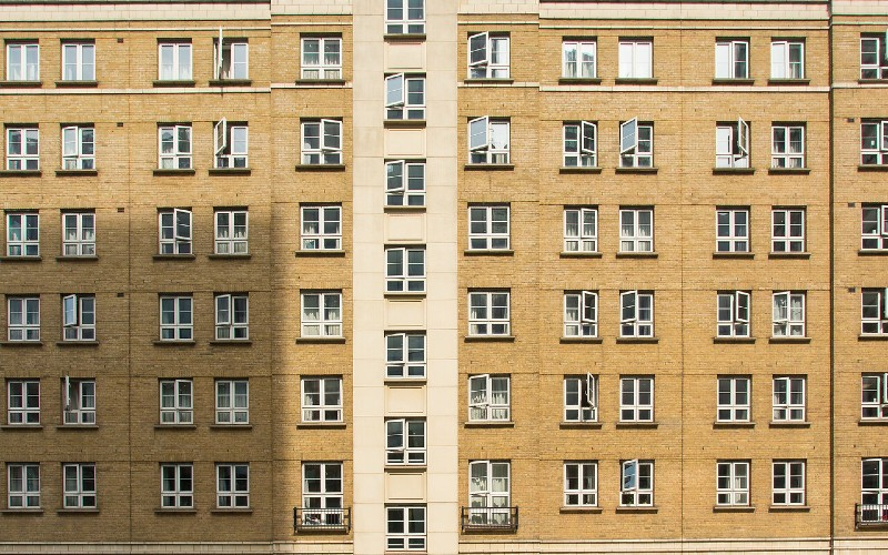 Rows of windows at the front of Schafer House student accommodation.