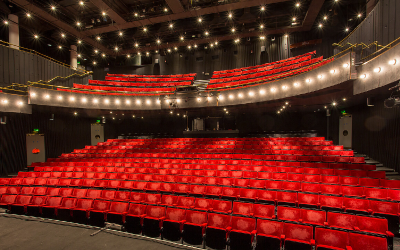Seats in the Bloomsbury Theatre viewed from the stage.