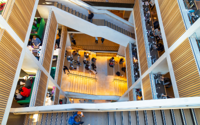 Staircases in the UCL Student Centre.