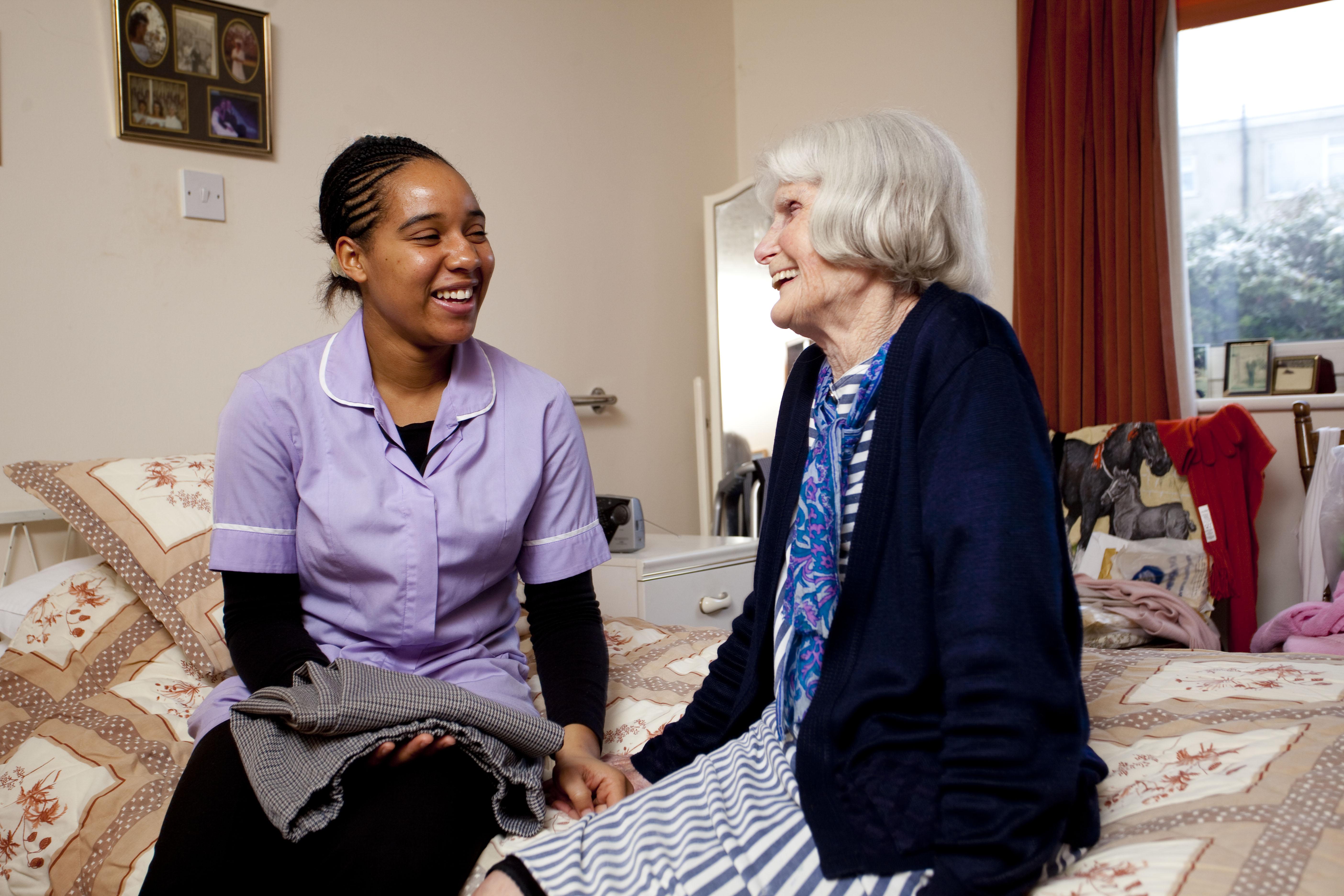 elderly lady and nurse