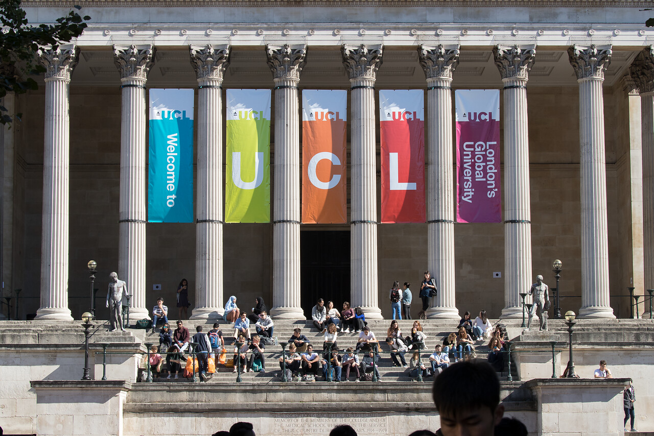 Welcome to UCL banner on portico building
