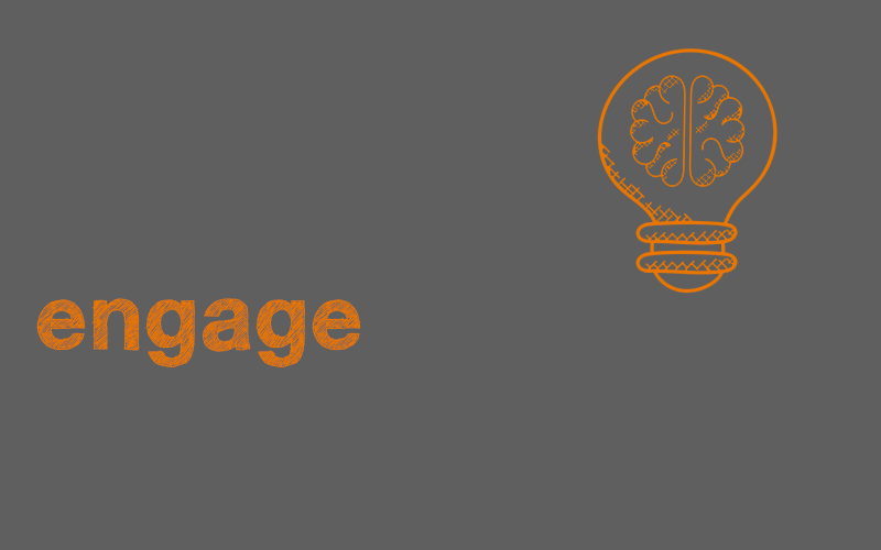 an image of the word engage with a lightbulb graphic
