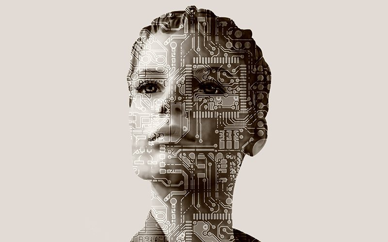 an image of a woman with a micro chip overlayed