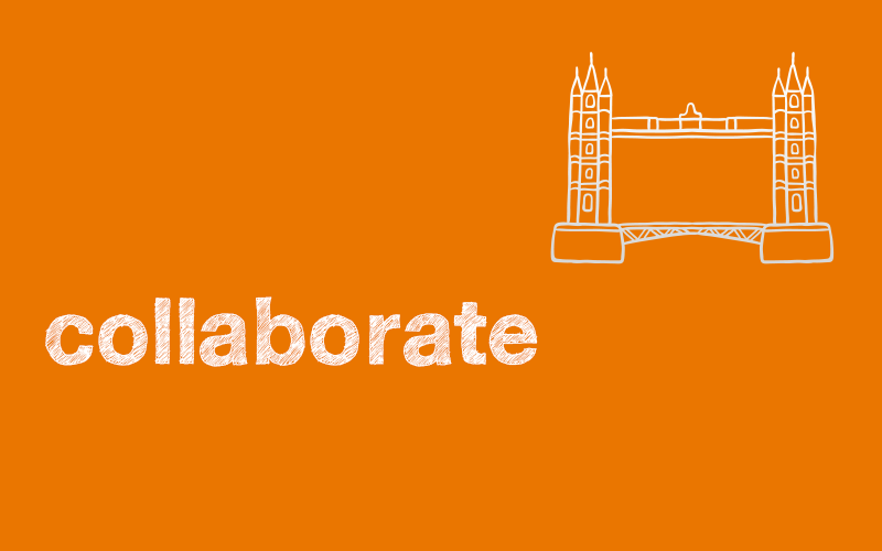 an image of the word collaborate with tower bridge icon