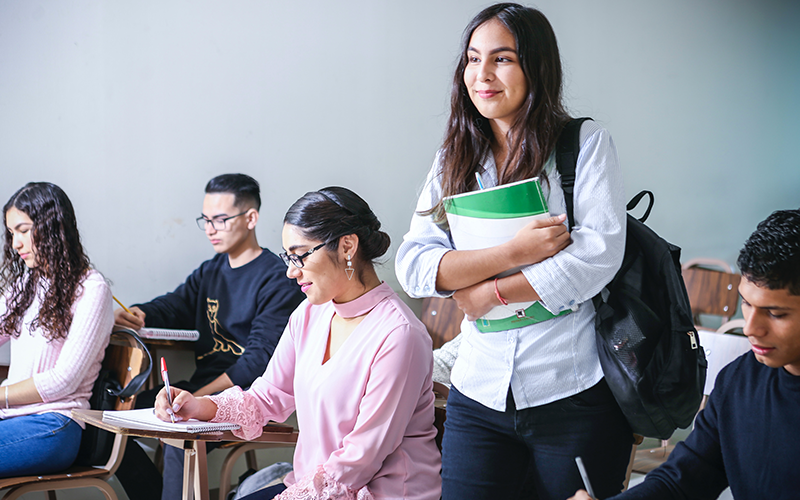 an image of students working