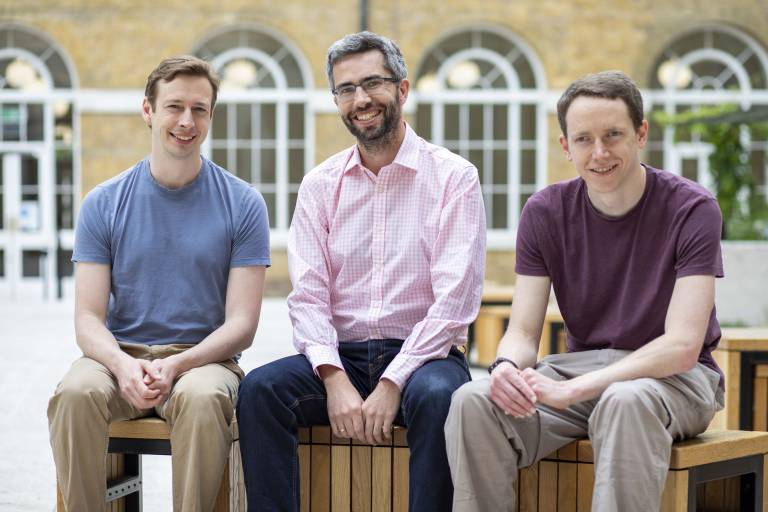Photo of Phasecraft founders (Left to right): Toby Cubitt, John Morton and Ashley Montanaro