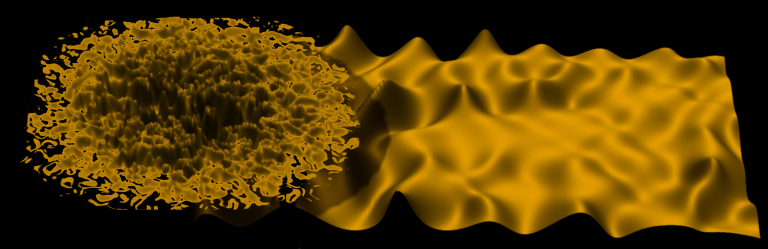 Simulation Image of the quantum wind rippling the quantum fluid of light