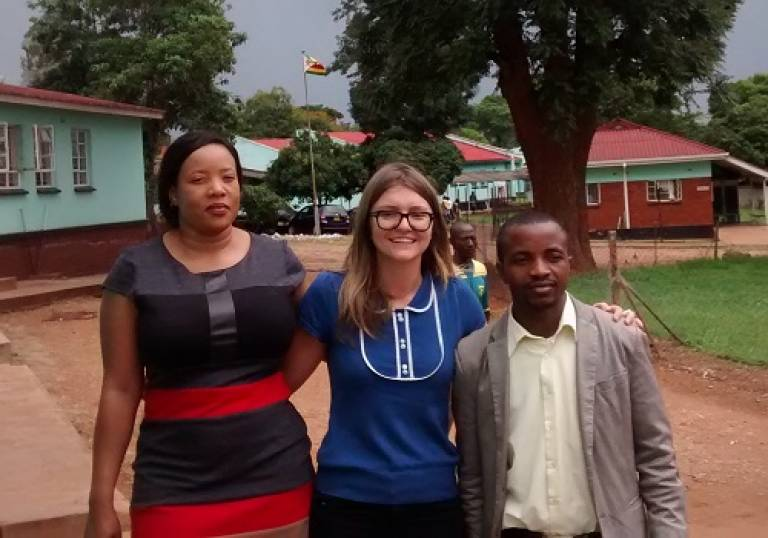 Andrew's co-researcher Valentina Cambiano with colleagues from the Zimbabwe Ministry of Health at a clinic