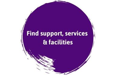 Find Support Services and Facilities text on a purple background