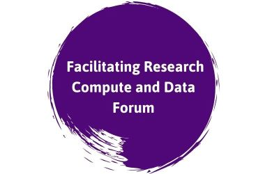 Facilitating Research Compute and Data Forum text on purple background