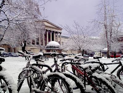 UCL Portico in the snow