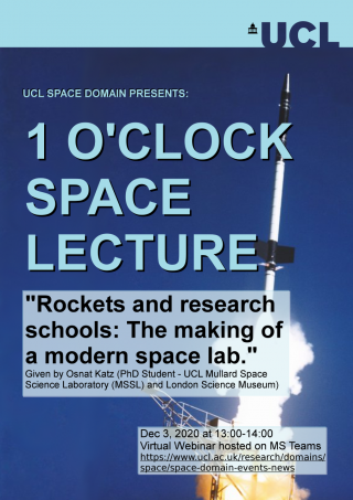 """One O'Clock Space Lecture """"Rockets and research schools: The making of a modern space lab"""""""