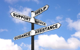 Get help, guidance, support signpost on blue sky