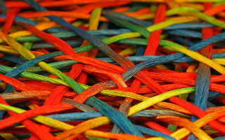 multicoloured threads overlapping