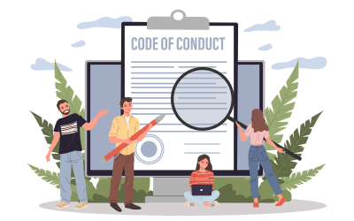 a graphic image of people looking at the words 'code of conduct'