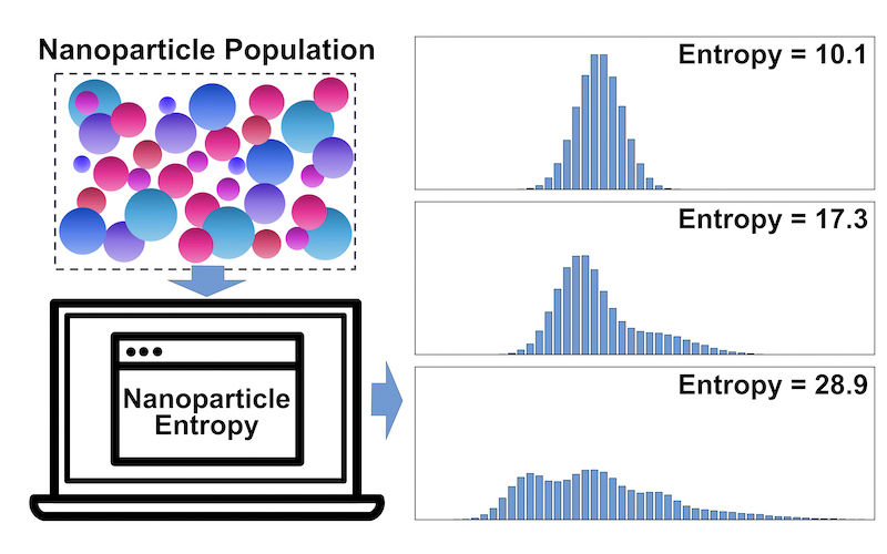 ToC figure of paper: Information Entropy as a Reliable Measure of Nanoparticle Dispersity