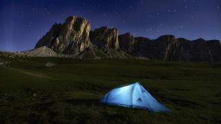 Tent with mountains and stars