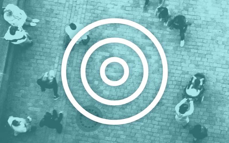 Circle icon over image of street