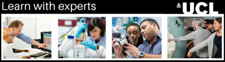 Banner image of 4 photos of engineers and scientists doing work or engaging in research, with title 'Learn with experts'