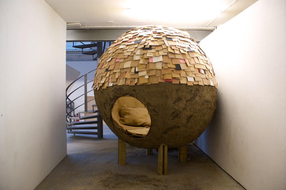 Escape, 2012, willow, cob, reclaimed wood, hessian, fixings