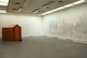 Installation View of 'Beginnings of Democracy' and 'Landscape after Leonardo's Annunciation' (daylight view)