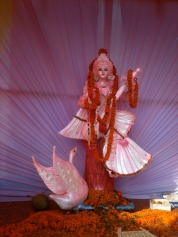 Icon of goddess of knowledge, Saraswati, University of Dhaka for Saraswati puja, 2011