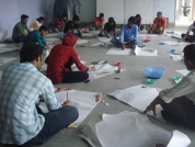 Students participating in Lisa Milroy's drawing workshop.