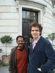 Shishir Bhattacharjee (left) and Dryden Goodwin (right) outside the entrance to the Slade School of Fine Art.