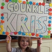 Dr Kris Grint: This is my niece Lola who is nearly 5 years old. She made this banner to support me at the 2014 London Marathon which was very cute