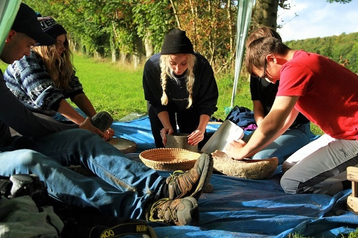 Archaeology students out on fieldwork