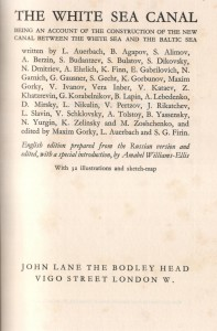 Title page, English version of The History of the Construction of the White Sea CanalTitle page, English version of The History of the Construction of the White Sea Canal…