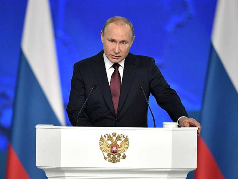Putin giving address