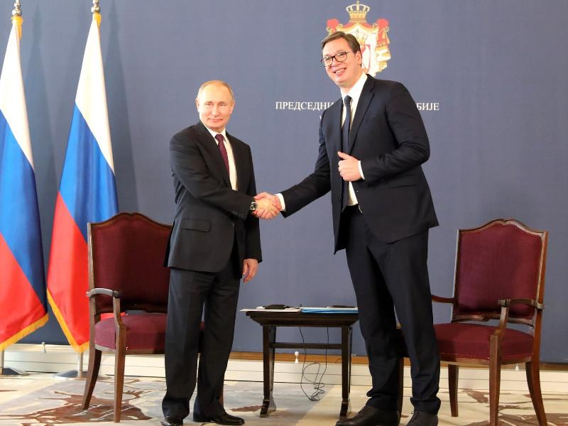 Serbia putin handshake