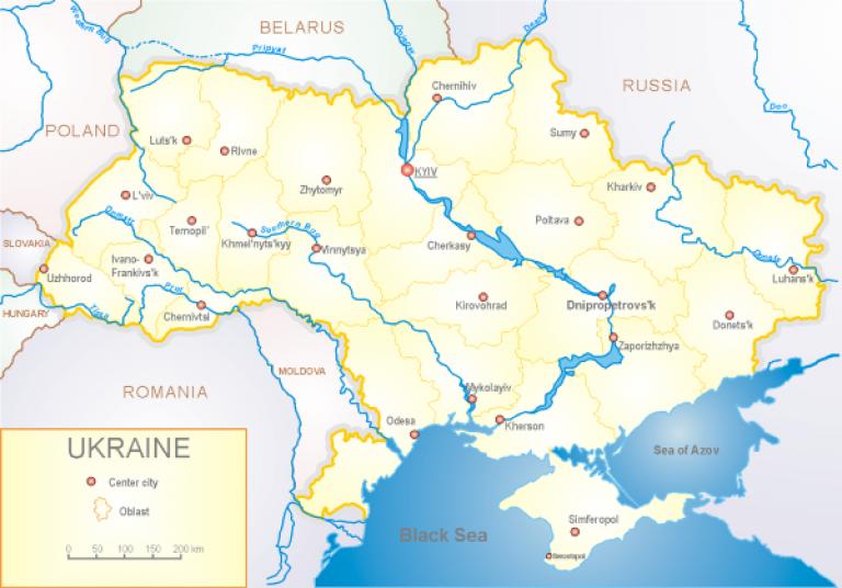 Political map of Ukraine
