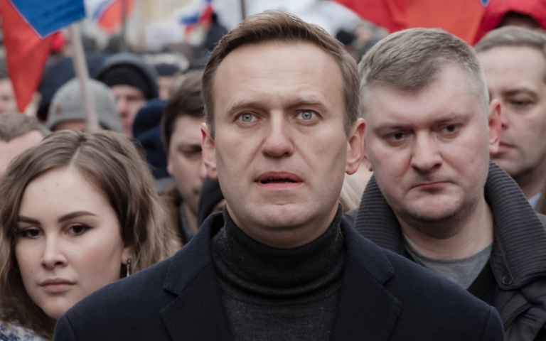 Oppositionist Alexei Navalny on a march in memory of politician Boris Nemtsov, who was killed in Russia
